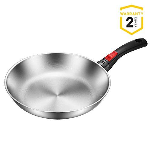 Tibek padella in acciaio inossidabile, con manico staccabile, compatibile con forni a induzione, lavabile in lavastoviglie e utilizzabile in forno, 28 cm