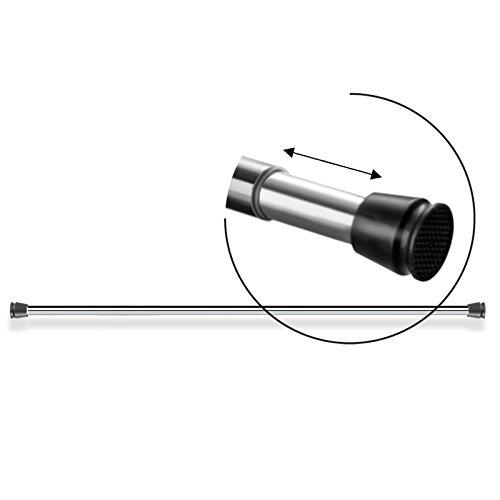 Duschvorhangstange verchromt | starker Halt ohne Bohren | durch Drehen verstellbare Teleskopstange | viele Längen (55-250cm) - 3