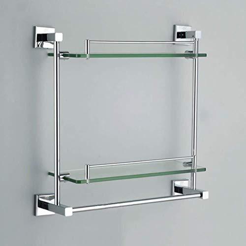 SXQK Badezimmer-Regal aus gehärtetem Glas, Wandmontage, rechteckig, poliertes Chrom, 2-lagiges Glasregal, Badezimmer-Wandmontage, Make-up-Rack, mit Kupfer-Handtuchstange, Glas, 35cm/13.7'' -