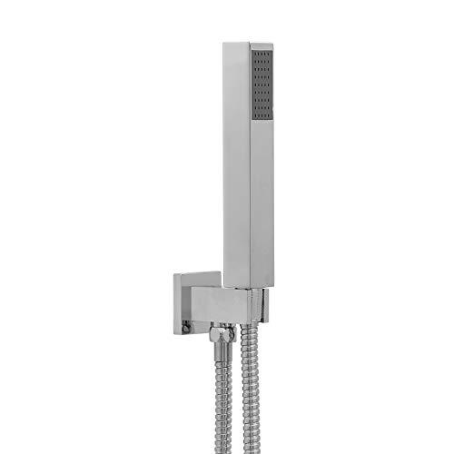 ENKI Douchette kit de douche design moderne carré laiton ABS chromé