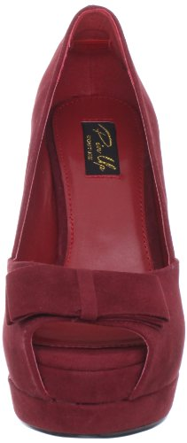 Pinup Couture Peeptoes Bella-10 Red Sueded Pu