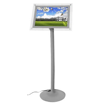 LED Infoständer Magic Curved silber DIN A3