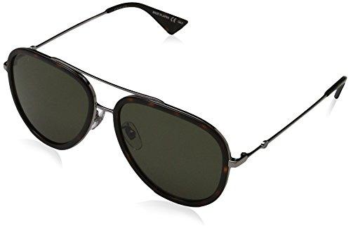Gucci Damen GG0062S 002 Sonnenbrille, Grau (Ruthenium/Green), 57