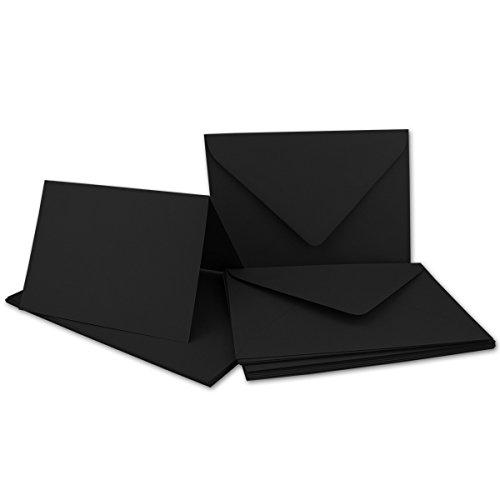 DIN B6 Faltkarten Set mit Umschlägen | Schwarz | 50 Sets | 115 x 170 mm | ideal für Einladungskarten, Hochzeit, Taufe, Kommunion, Konfirmation | formstabil | Marke: FarbenFroh®