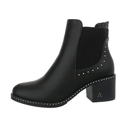 Ital-Design Damenschuhe Stiefeletten Chelsea Boots Synthetik Schwarz Gr. 40