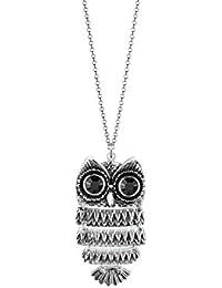 Elli Damen Halskette mit Eulen-Anhänger 925 Sterling Silber Swarovski Kristallen Länge 70 cm 0101142913_70