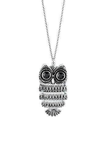 Elli Damen-Halskette mit Eulen-Anhänger 925 Sterling Silber mit Kristallen von Swarovski Länge 70cm 0101142913_70