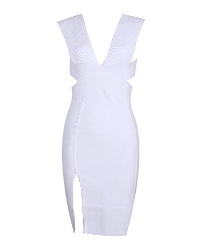 Whoinshop Damen Tiefer V-Ausschnitt Bodycon Kleid Ausgeschnitten Rückenfrei Festliche Bandage Club Kleid mit Seitenschlitz Weiß S Bandage Kleid