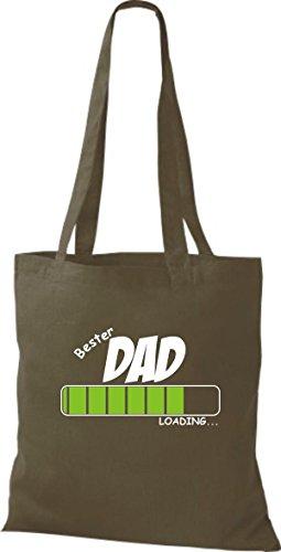 Camicia In Cotone Borsa In Stoffa In Cotone Best Dad Caricamento Colore Oliva Rosa