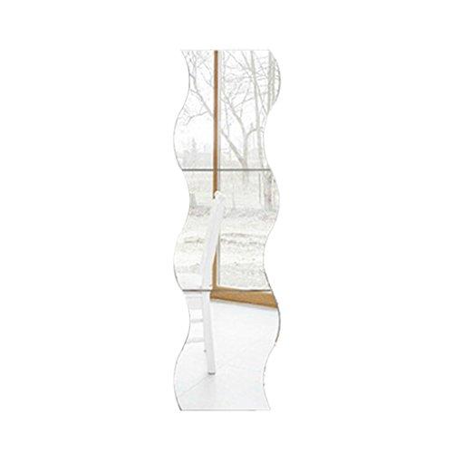 6pcs Silber Wellenmuster Dekor Kunst Abziehbild Spiegel Stil Wandaufkleber Kindzimmer