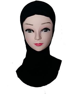 Capucha parte derecha bajo Hijab (cap) - Color Negro - Talla única - Para las mujeres musulmanas, 100% poliéster