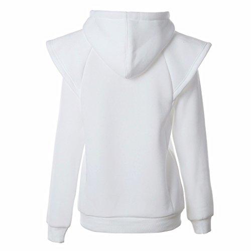 Manches Longues Culture Sweat À Capuche Lâche Pull Tops Mode Femmes Blanc