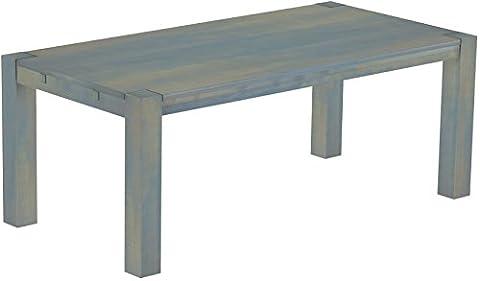 Brasilmoebel® Esstisch Rio Kanto 240 x 100 cm, Pinie Massivholz Taubengrau, in 27 Größen und 45