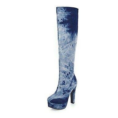 RTRY Scarpe Donna Denim Moda Inverno Stivali Stivali Chunky Tallone Punta Tonda Thigh-High Scarponi Per Abbigliamento Casual Blu Chiaro Blu Scuro US6 / EU36 / UK4 / CN36