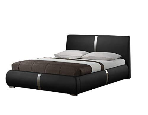 Lit Double Noir 160 x 200 Qualité Excellium - Design élégant - avec tête de Lit, Pieds en métal et sommier intégrés - Eden