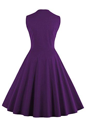 yming Damen 1950Vintage Polka-Button Retro Audrey Hepburn Swing Rockabilly Party Kleid, 4x l Violett-Blumen