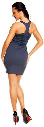 Zeta Ville - vestito tunic - abito con fondo a palloncino in voile donna - 024z Blu Grigio