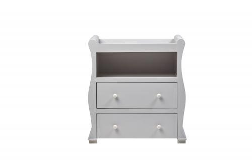 East Coast Alaska Sleigh 2 Piece Nursery Room Set with Under Drawer and Sprung Mattress - Grey East Coast  5