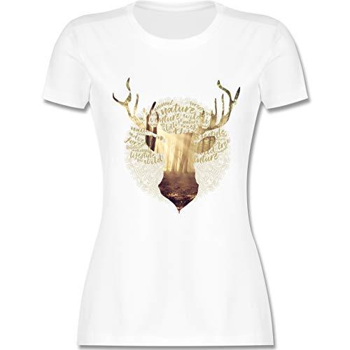 Oktoberfest Damen - Hirsch - M - Weiß - L191 - Damen Tshirt und Frauen T-Shirt -
