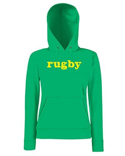 T-Shirtshock - Sweatshirt a capuche Femme TRUG0180 rugby2 logo Vert