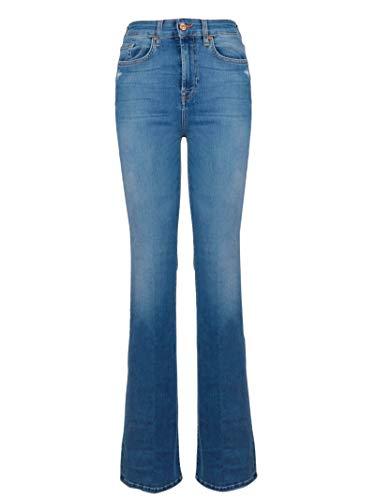 7 For All Mankind Damen JSQNU580 Blau Baumwolle Jeans