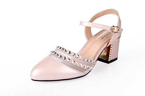 Lgk & fa estate sandali grosso sandali tacco tacchi testa rotonda drill scarpe da donna Hollow Baotou sandali da donna, 37 Pink 36 Pink