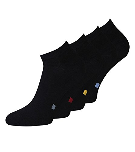 8 Paar Herren Sneaker Socken schwarz in verschiedenen Varianten, 80% Baumwolle, Spitze Handgekettelt (39-42, neuheit: schwarz mit sortierpunkt)