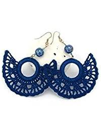 Pendientes de crochet-ganchillo Pendientes largos Joyería de ganchillo Color azul real