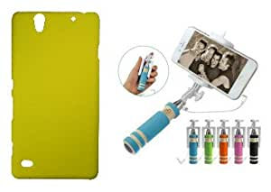 XUWAP Hard Case Cover With Mini Selfie Stick For Sony Xperia C4 - Yellow