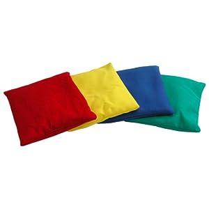 Juego de 4saquitos rellenos Multicolor para jugar y para entrenamiento, lavables, funda: 100% de algodón. Para muchos Juegos motores | bolsitas de lanzamiento, Cojín de concentración, bolsitas de terapia para niños–Adecuado como cornbag , Cornhole o Bean Bag