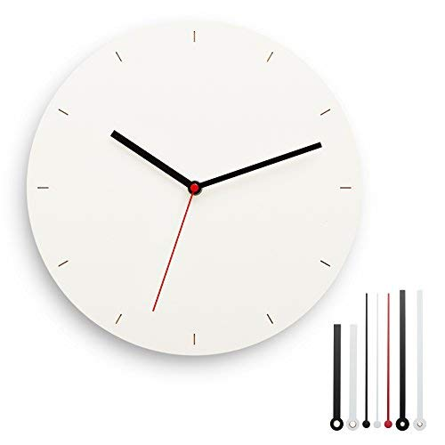 CLOKK 1-WS – Individualisierbare Minimal Designer Wanduhr weiß, Ø 30 cm aus Birke Multiplex Holz mit leisem Uhrwerk ohne Ticken, inkl. 7 Zeigern, ideal für Zuhause und Büro