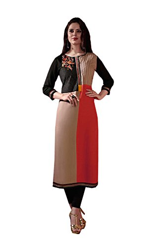 Beautiful Looking Designer in Reyon fabric casual kuti Orange color good Embroidery...