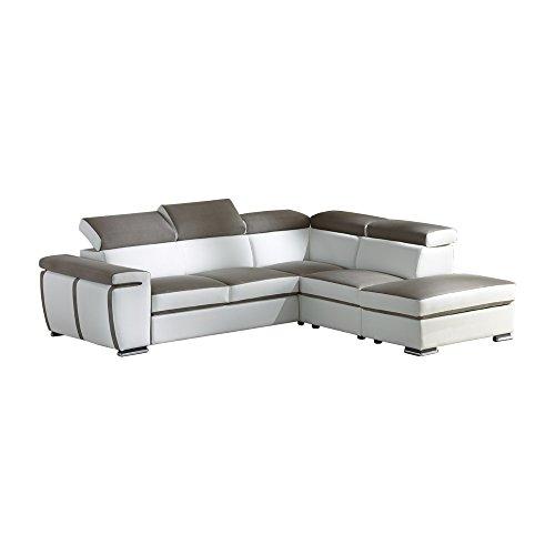 Casarreda store divano letto angolare componibile mod. santiago con penisola reversibile, bicolor ecopelle ghiaccio e tessuto caramel
