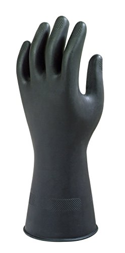 Ansell Black Heavyweight G17K Gants en latex de caoutchouc naturel, protection contre les produits chimiques et les liquides, Noir, Taille 8.5 (Sachet de 1 paire)