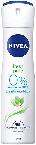 NIVEA Fresh Pure Deo Spray im 6er Pack (6 x 150 ml), erfrischendes Deo ohne Aluminium, Deodorant mit 48h Schutz pflegt die Haut
