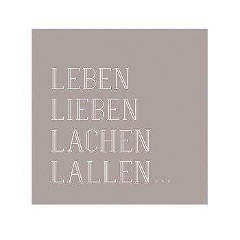 PET Vino Serviette 25x25cm Leben,Lieben, Lachen, Lallen.. [D] (Rad Feines)