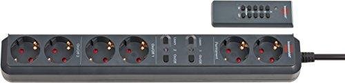 Brennenstuhl Eco-Line Funkschalt Steckdosenleiste 6-fach (2x2 schaltbar, 1,5m Kabel, mit Handsender) Farbe: anthrazit