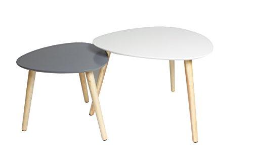 MAIMAITI Beistelltisch Weiß Couchtisch Rund Wohnzimmertisch Design Couchtisch, Groß(55x55x45cm),Klein(40x40x40cm),Weiß,Grau (Weiß+Grau) (Runde Couchtisch Große)