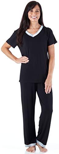 Pajama Heaven Women s Sleepwear Bamboo Jersey V-Neck Top and Pants Pajama  Set with Satin ed6f2c1a9b4