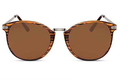 2eeddc65d052 Cheapass Glossy Round Sunglasses Tiger Frame with Brown Crystals Vintage  Metal Designer Glasses UV400 Protection Women