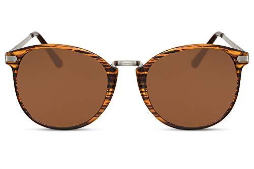b46a1f612e Cheapass Gafas de Sol Redondas Brillantes Montura Tigre con Cristales  Marrones Vintage Gafas Diseñador Metálicas Protección