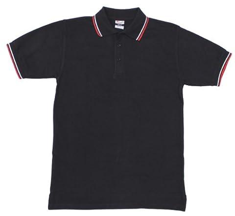 Pro Company Herren Poloshirt Rot-weiße Streifen Mit Knopfleiste, schwarz, S, 00873A