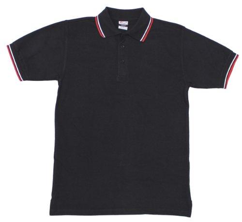 Pro Company Herren Poloshirt Rot-weiße Streifen Mit Knopfleiste, schwarz, XL, 00873A -
