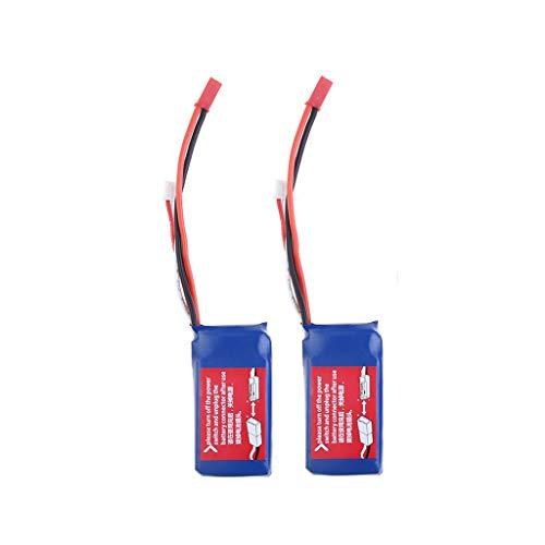 JIJI886 Batteria per Auto Telecomando, 2PCS 7.4V 1100mAH per Il Modello RC WLTOYS A949 / A959 / A969 / A979 / V912 / V913 (Blu)