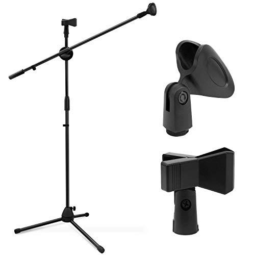 Mikrofonständer Dual-Mic Clip, Ohuhu® Mikrofon Ständer, Collapsible Tripod Galgenstativ, Ultra-Licht