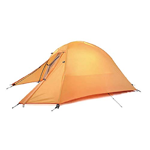 Triwonder 1-2-3 persona 4 stagione tenda da campeggio leggero impermeabile doppio strato backpacking tenda per l'escursione in campeggio (arancione - 1 persona)