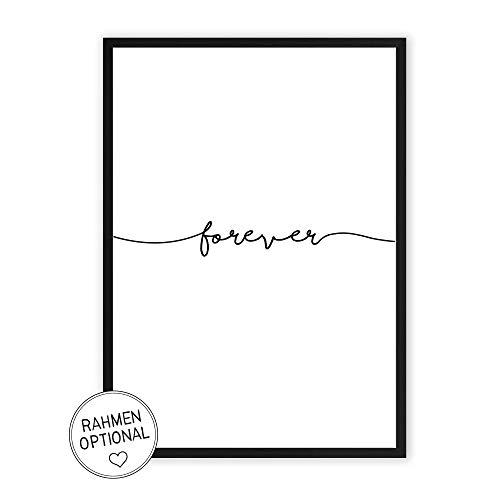 forever - Kunstdruck auf wunderbarem Hahnemühle Papier DIN A4 -ohne Rahmen- schwarz-weißes Bild Poster zur Deko im Büro/Wohnung / als Geschenk Mitbringsel zum Geburtstag etc.