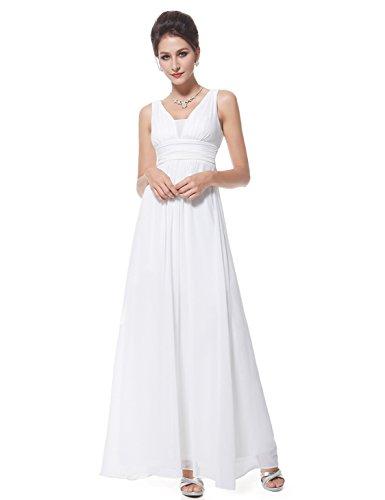 Ever Pretty Damen Chiffon V-Ausschnitt Lang Abendkleider Abschlussball Kleider Größe 40 Weiß - Kleider V-ausschnitt Abschlussball Weiß