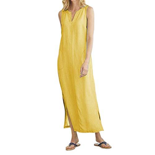 LUGOW Abendkleider Damen LangKleider Einfarbig Cocktailkleider Bettwäsche aus Baumwolle FreizeitKleider Sommerkleider Kurzarm Maxikleider Strandkleid PartyBallkleid(Medium,Gelb) -