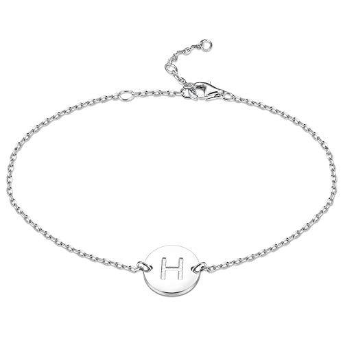 sailimue 925 Sterling Silber Initial Armbänder für Damen Mädchen Buchstaben ArmKette Dünne Zartes Schlichte Armbänder mit Geschenkbox, 16,5 + 5 cm Einstellbar